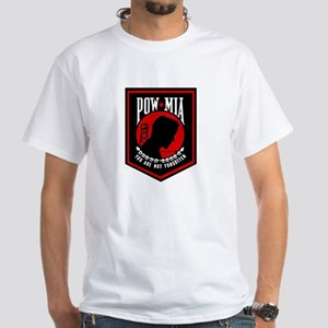 POW MIA (Red) White T-Shirt